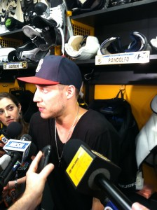 Gregory Campbell speaks to the media during break-up day