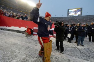 Jimmy Howard salutes fans at the 2014 Winter Classic. He will be making his Olympic Debut in Sochi