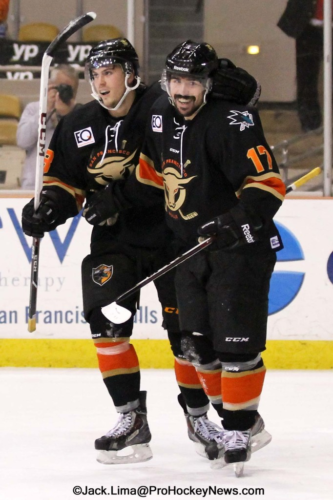Dale Mitchell (R) Celebrates His Overtime Winning Goal With Sebastian Stalberg