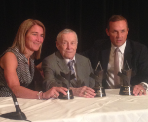 Honourees France St-Louis, Clare Drake and Steve Yzerman receive their Order of Hockey in Canada awards