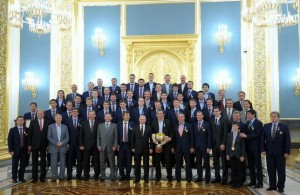 The gold medal winning Russian national team at the presidential reception in the Kremlin on May 27, 2014.