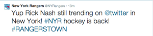 Twitter reacts to Nash's 2G, 1A performance (via @NYRangers)