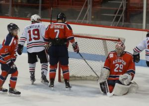 Kevin Roy gets on past Axemen's goalie.