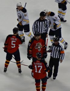Aaron Ekblad, Shawn Thornton and Derek MacKenzie