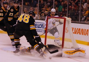 Bruins protecting the net (Photo: Krista Patronick)