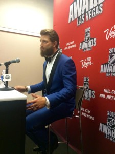 Brent Burns post-NHL Foundation Player Award  win at the 2015 NHL Awards