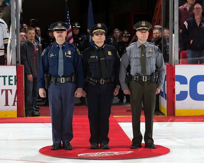 1st Lt. Michael Shaw of the Michigan State Police; Asst. Chief Steven Dolunt of the Detroit Police Dept.; and, Capt. David Malloch of the Michigan Dept. of Natural Resources represent the agencies in Michigan that have lost officers in the line of duty in 2015. photo: Dave Reginek/NHLI