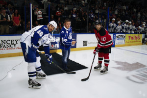 Jon Mirasty participating in ceremonial puck drop. 11/04/15