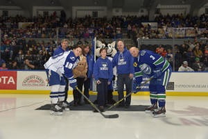 Watertown Wolves participate in ceremonial puck drop. Photo taken by Scott Thomas 11/14/15