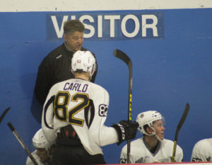 Kevin Dean chats with Brandon Carlo at camp