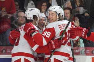 #GRG Callahan, Bertuzzi, and Criscuolo celebrate the Griffins first goal of the game. PHOTO: Courtesy of Mark Newman, Grand Rapids Griffins