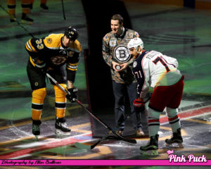 Ceremonial puck drop by Staff Sgt. Ryan Pitts