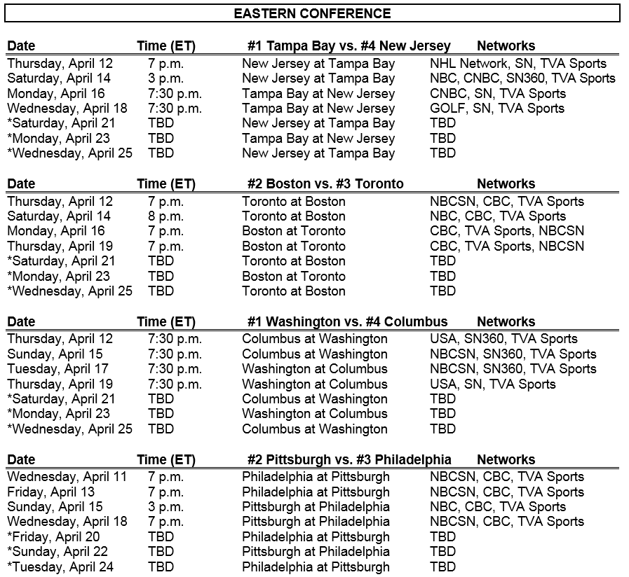 Nhl Round One Playoff Schedule The Pink Puck