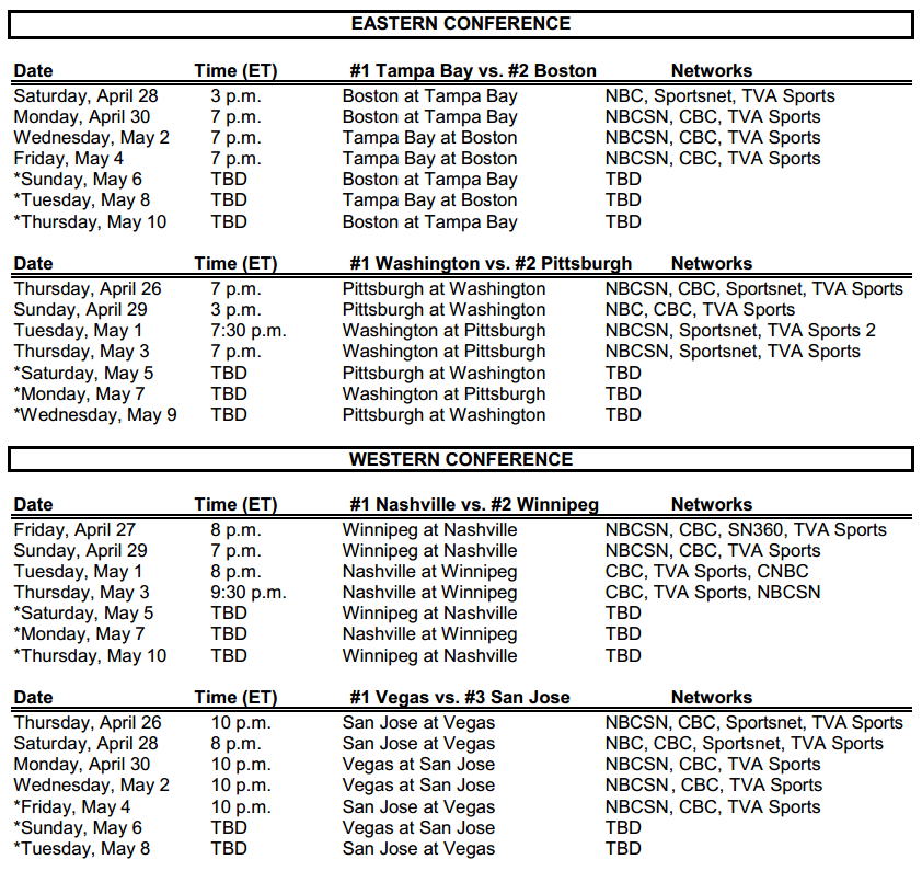 Nhl Stanley Cup Round 2 Schedule The Pink Puck